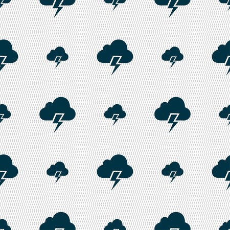 predicting: Heavy thunderstorm icon sign. Seamless pattern with geometric texture. Vector illustration