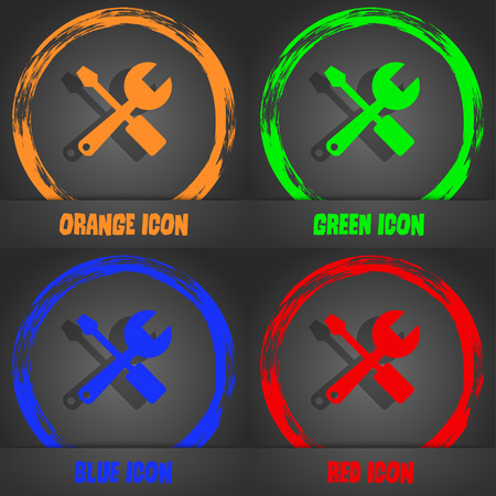 tuning turn screw: wrench and screwdriver icon. Fashionable modern style. In the orange, green, blue, red design. Vector illustration