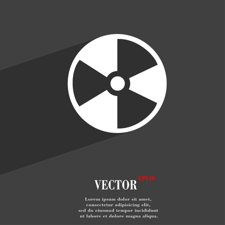 radioactive tank and warning sign: radioactive symbol Flat modern web design with long shadow and space for your text. Vector illustration