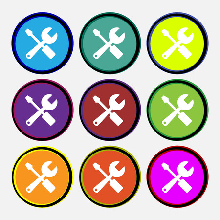 tuning turn screw: wrench and screwdriver icon sign. Nine multi colored round buttons. Vector illustration