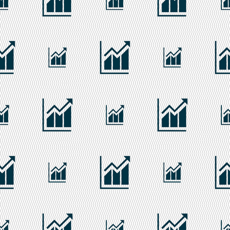 uptrend: Growing bar chart icon sign. Seamless pattern with geometric texture. Vector illustration