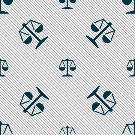 trial balance: Libra icon sign. Seamless pattern with geometric texture. Vector illustration
