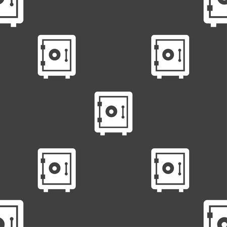 secret codes: safe icon sign. Seamless pattern on a gray background. Vector illustration