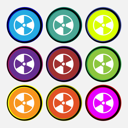 barrels with nuclear waste: radioactive icon sign. Nine multi colored round buttons. Vector illustration Illustration