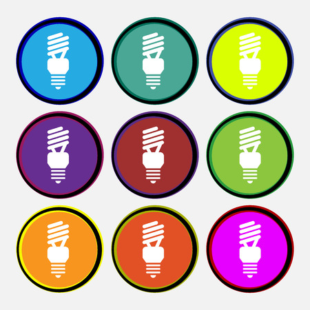 compact fluorescent lightbulb: fluorescent lamp icon sign. Nine multi colored round buttons. Vector illustration