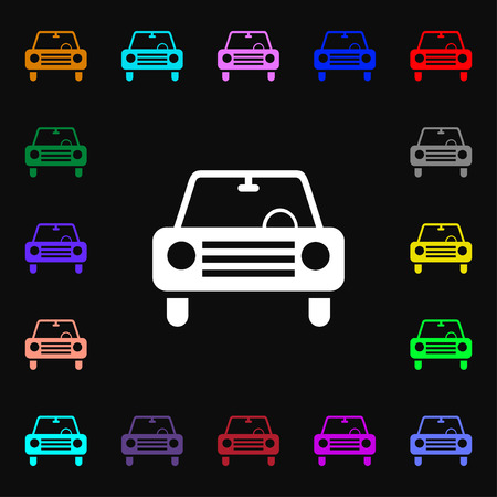 car lots: car icon sign. Lots of colorful symbols for your design. Vector illustration