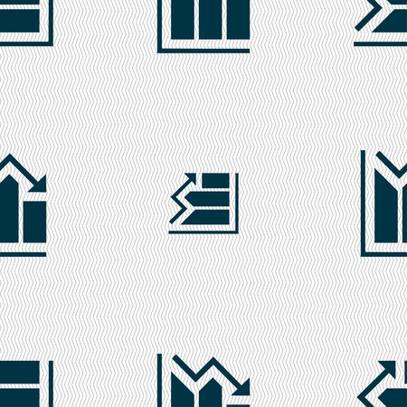 uptrend: histogram icon sign. Seamless pattern with geometric texture. Vector illustration