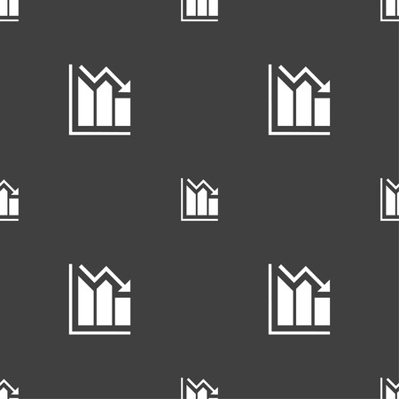 uptrend: histogram icon sign. Seamless pattern on a gray background. Vector illustration Illustration