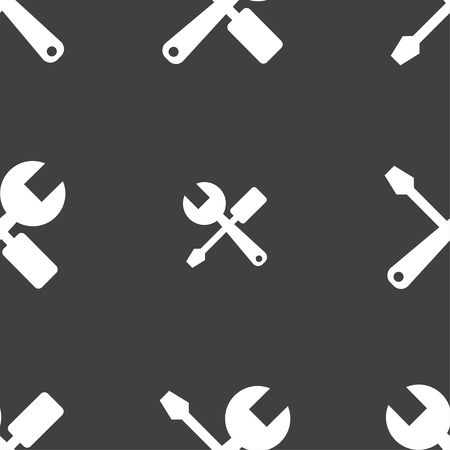 turn the screw: wrench and screwdriver icon sign. Seamless pattern on a gray background. Vector illustration