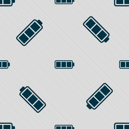 charged: Battery fully charged icon sign. Seamless pattern with geometric texture. Vector illustration