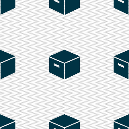 packaging cardboard box icon sign. Seamless pattern with geometric texture. Vector illustration