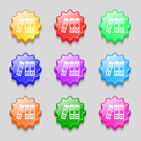 classify: binders  icon sign. symbol on nine wavy colourful buttons. Vector illustration