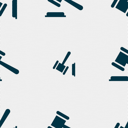 judge or auction hammer icon sign. Seamless pattern with geometric texture. Vector illustration Illustration
