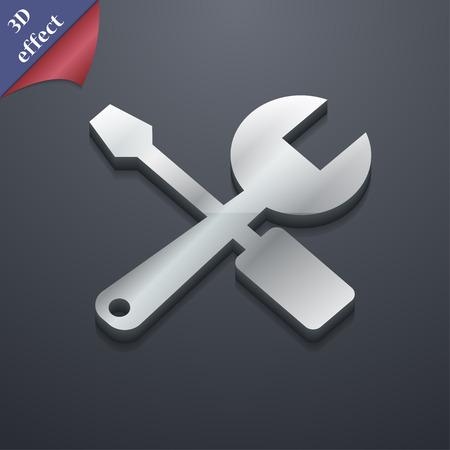 turn screw: wrench and screwdriver icon symbol. 3D style. Trendy, modern design with space for your text Vector illustration Illustration