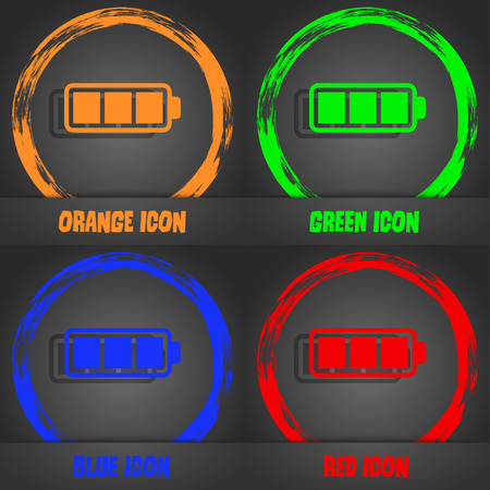 fully: Battery fully charged icon. Fashionable modern style. In the orange, green, blue, red design. Vector illustration Illustration