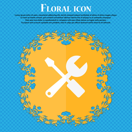 turn screw: wrench and screwdriver icon. Floral flat design on a blue abstract background with place for your text. Vector illustration Illustration