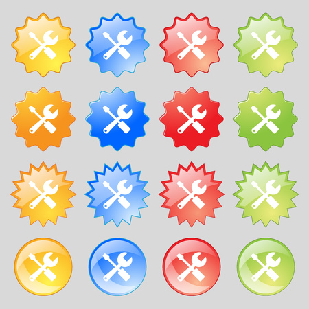 tuning turn screw: wrench and screwdriver icon sign. Big set of 16 colorful modern buttons for your design. Vector illustration