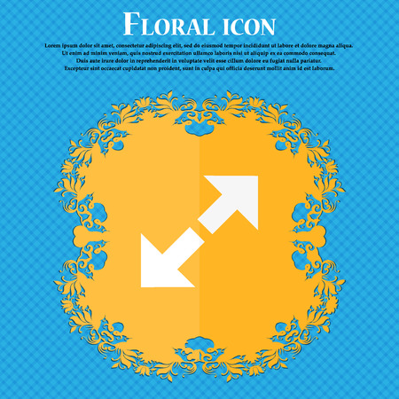 full size: Full screen icon. Floral flat design on a blue abstract background with place for your text. Vector illustration Illustration