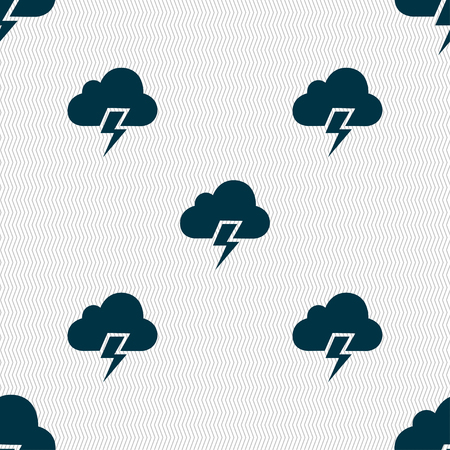heavy: Heavy thunderstorm icon sign. Seamless pattern with geometric texture. Vector illustration