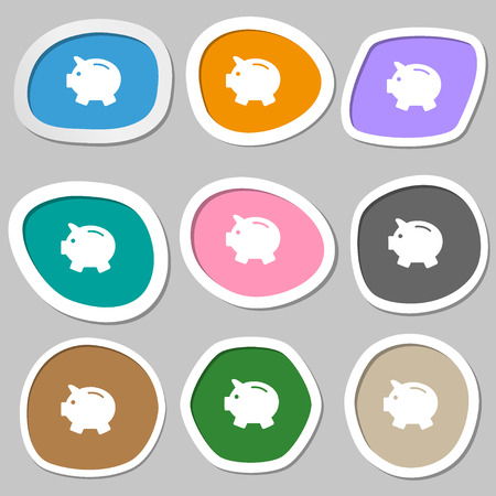 mumps: Piggy bank - saving money symbols. Multicolored paper stickers. Vector illustration Illustration