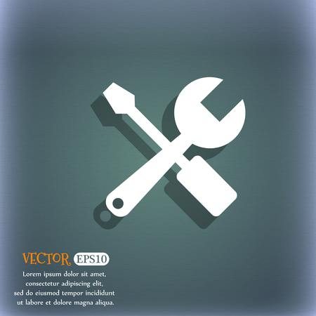 revamp: wrench and screwdriver icon. On the blue-green abstract background with shadow and space for your text. Vector illustration