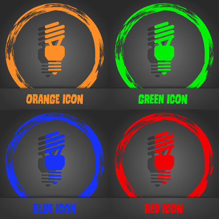 fluorescent lamp icon. Fashionable modern style. In the orange, green, blue, red design. Vector illustration