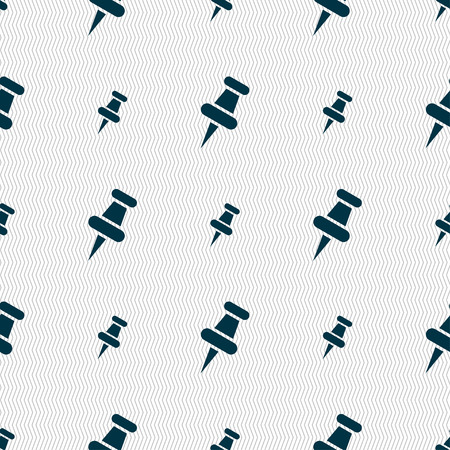 push pin icon: push pin icon sign. Seamless pattern with geometric texture. Vector illustration Illustration