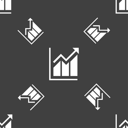uptrend: Growing bar chart icon sign. Seamless pattern on a gray background. Vector illustration