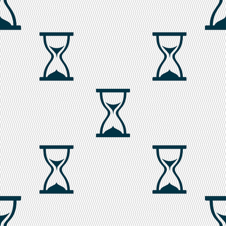 timepieces: hourglass icon sign. Seamless pattern with geometric texture. Vector illustration Illustration