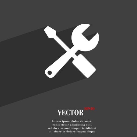 tuning turn screw: wrench and screwdriver symbol Flat modern web design with long shadow and space for your text. Vector illustration