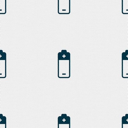 cell charger: battery icon sign. Seamless pattern with geometric texture. Vector illustration