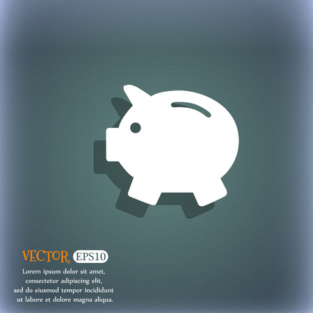 mumps: Piggy bank - saving money icon. On the blue-green abstract background with shadow and space for your text. Vector illustration Illustration