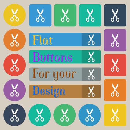 coiffure: Scissors icon sign. Set of twenty colored flat, round, square and rectangular buttons. Vector illustration