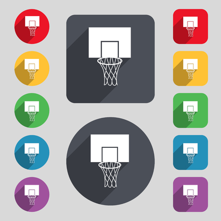 backboard: Basketball backboard icon sign. A set of 12 colored buttons and a long shadow. Flat design. Vector illustration