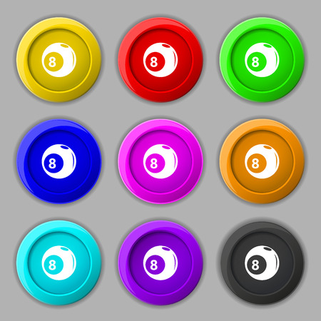 pocket billiards: Billiards icon sign. symbol on nine round colourful buttons. Vector illustration Illustration