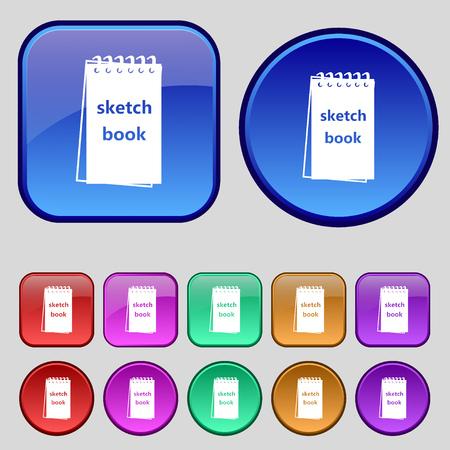 sketchbook: Sketchbook icon sign. A set of twelve vintage buttons for your design. Vector illustration Illustration