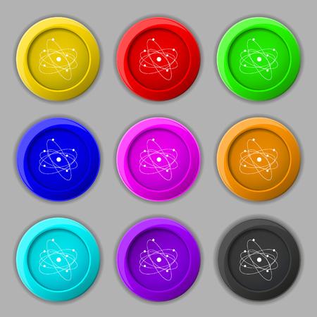 the big bang: physics, atom, big bang icon sign. symbol on nine round colourful buttons. Vector illustration