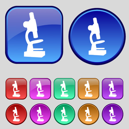 microscope lens: Microscope icon sign. A set of twelve vintage buttons for your design. Vector illustration Illustration