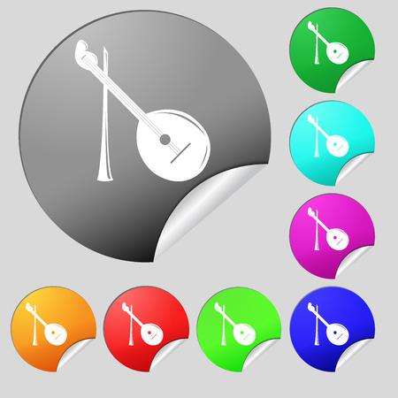 balalaika: Balalaika icon sign. Set of eight multi colored round buttons, stickers. Vector illustration