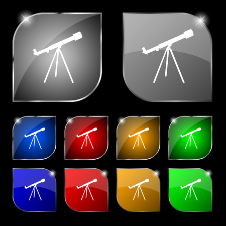 planetarium: Telescope icon sign. Set of ten colorful buttons with glare. Vector illustration