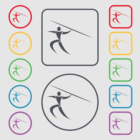 lanzamiento de jabalina: Deportes de verano, lanzamiento de jabalina icono de la muestra. s�mbolo en el botones cuadrados con Marco redondo y. ilustraci�n vectorial