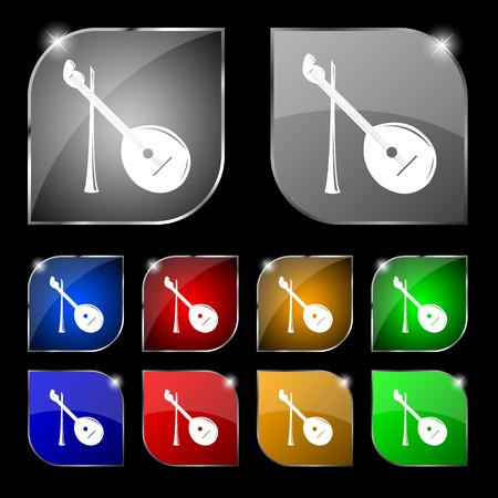 balalaika: Balalaika icon sign. Set of ten colorful buttons with glare. Vector illustration