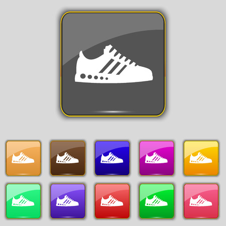 scamper: Sneakers icon sign. Set with eleven colored buttons for your site. Vector illustration