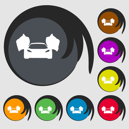 ergonomic: sports car icon. Symbols on eight colored buttons. Vector illustration Illustration