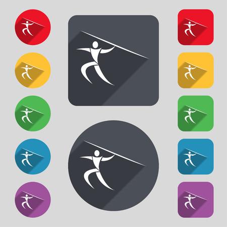 lanzamiento de jabalina: Deportes de verano, lanzamiento de jabalina icono de la muestra. Un conjunto de 12 botones de colores y una larga sombra. Diseño plano. ilustración vectorial