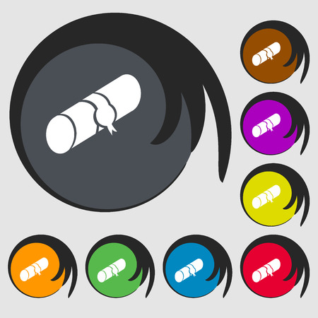 pencil case: pencil case icon. Symbols on eight colored buttons. Vector illustration