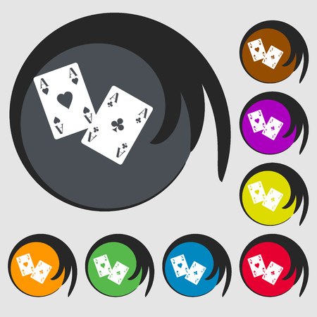 aces: Two Aces icon. Symbols on eight colored buttons. Vector illustration