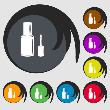 nailpolish: NAIL POLISH BOTTLE icon. Symbols on eight colored buttons. Vector illustration