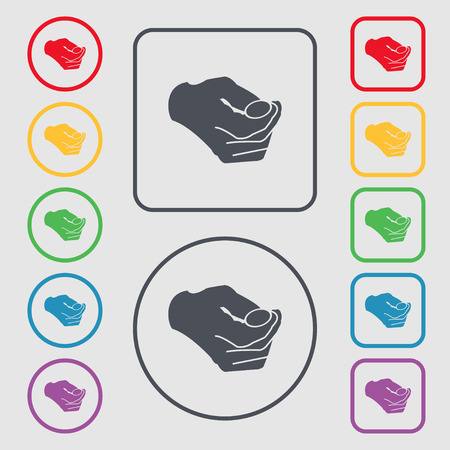coin toss: decision making by chance with coin, heads or tails icon sign. symbol on the Round and square buttons with frame. Vector illustration Illustration