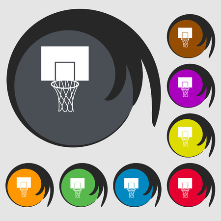 backboard: Basketball backboard icon. Symbols on eight colored buttons. Vector illustration